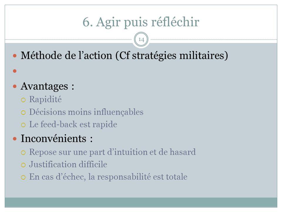 6. Agir puis réfléchir 14 Méthode de laction (Cf stratégies militaires) Avantages : Rapidité Décisions moins influençables Le feed-back est rapide Inc