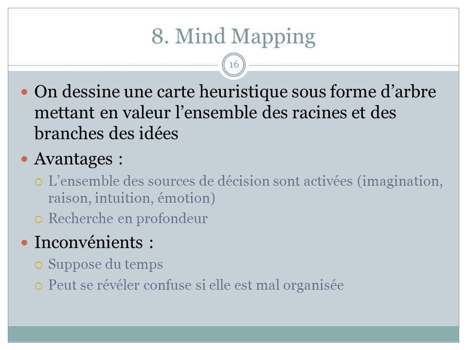 8. Mind Mapping 16 On dessine une carte heuristique sous forme darbre mettant en valeur lensemble des racines et des branches des idées Avantages : Le