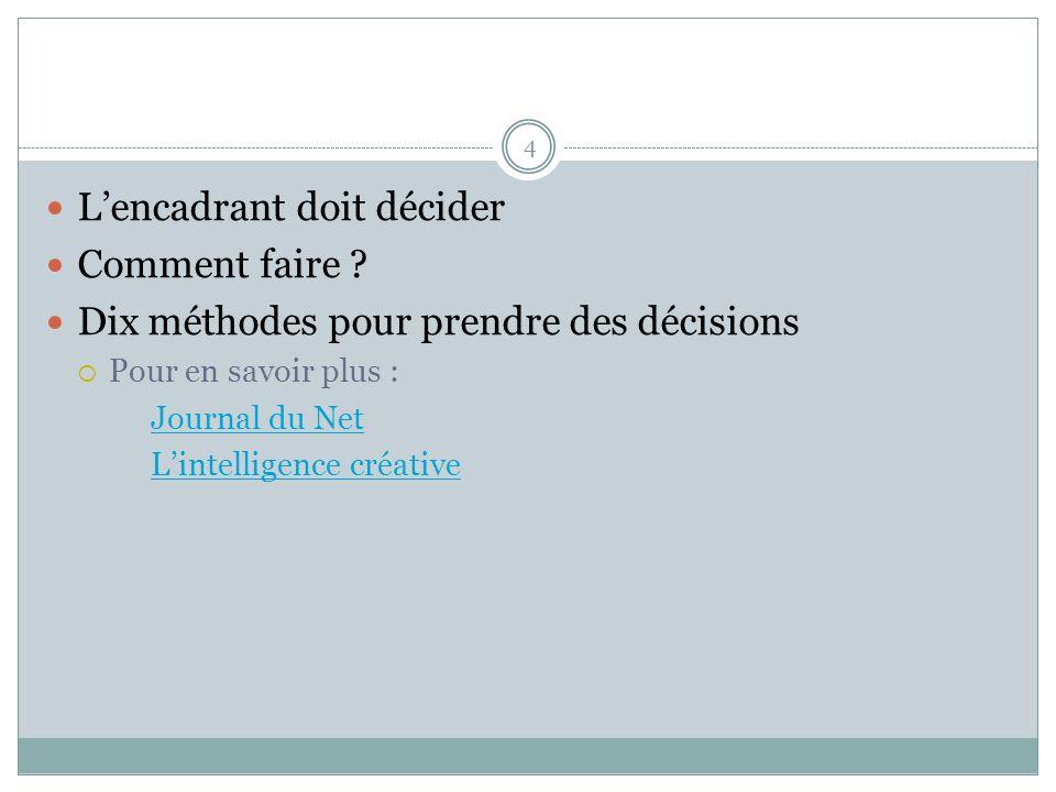 4 Lencadrant doit décider Comment faire ? Dix méthodes pour prendre des décisions Pour en savoir plus : Journal du Net Lintelligence créative