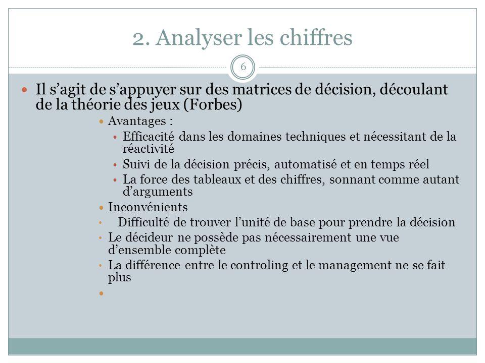 2. Analyser les chiffres 6 Il sagit de sappuyer sur des matrices de décision, découlant de la théorie des jeux (Forbes) Avantages : Efficacité dans le