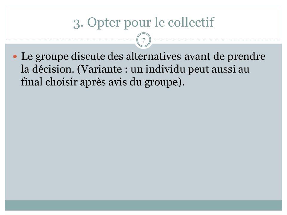 3. Opter pour le collectif 7 Le groupe discute des alternatives avant de prendre la décision. (Variante : un individu peut aussi au final choisir aprè