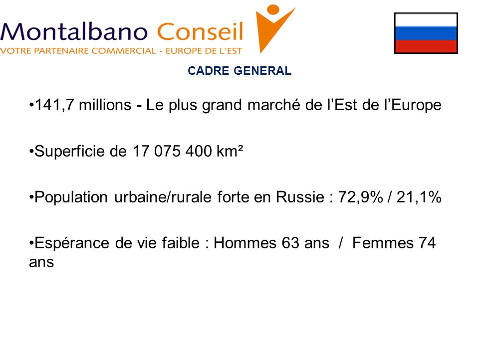 CADRE GENERAL 141,7 millions - Le plus grand marché de lEst de lEurope Superficie de 17 075 400 km² Population urbaine/rurale forte en Russie : 72,9%