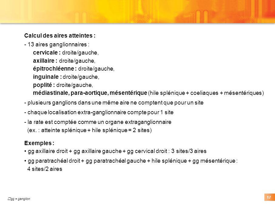 gg = ganglion 17 Calcul des aires atteintes : - 13 aires ganglionnaires : cervicale : droite/gauche, axillaire : droite/gauche, épitrochléenne : droi