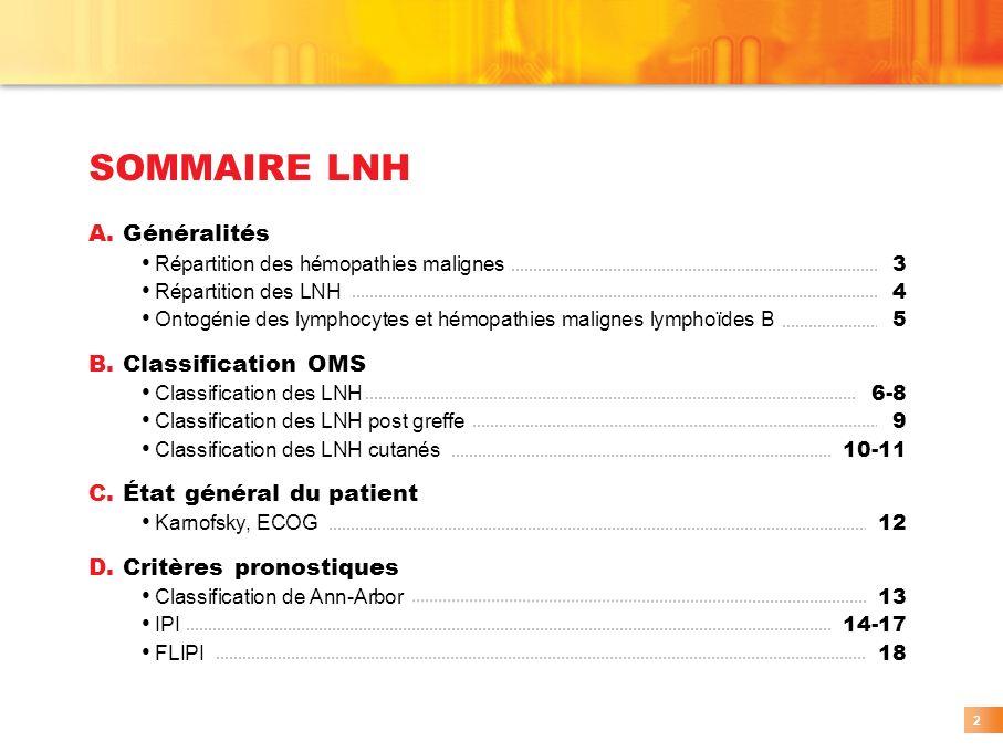 SOMMAIRE LNH 2 A. Généralités Répartition des hémopathies malignes 3 Répartition des LNH 4 Ontogénie des lymphocytes et hémopathies malignes lymphoïde