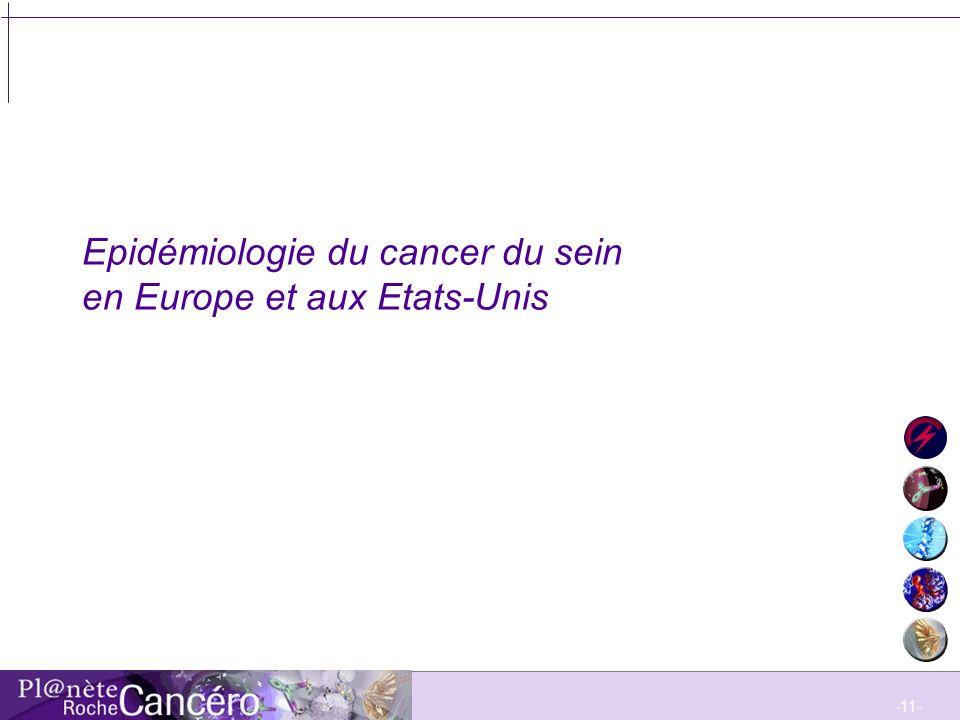 -12- Evolution de lincidence du cancer du sein en Europe entre 1973-77 et 1993-97 Althuis MD, Dozier JM, Anderson WF, et al.