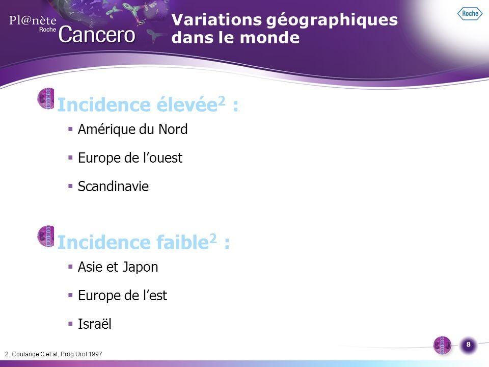 8 Incidence élevée 2 : Amérique du Nord Europe de louest Scandinavie Incidence faible 2 : Asie et Japon Europe de lest Israël 2. Coulange C et al, Pro