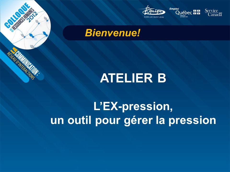 Bienvenue! ATELIER B LEX-pression, un outil pour gérer la pression