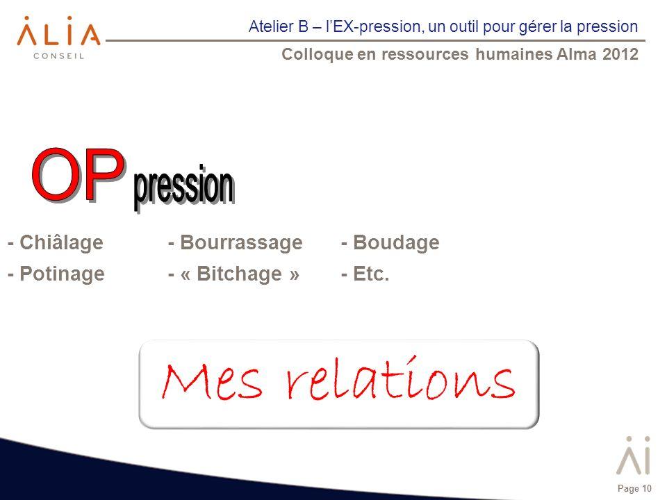 Atelier B – lEX-pression, un outil pour gérer la pression Colloque en ressources humaines Alma 2012 Page 10 - Chiâlage - Bourrassage- Boudage - Potina