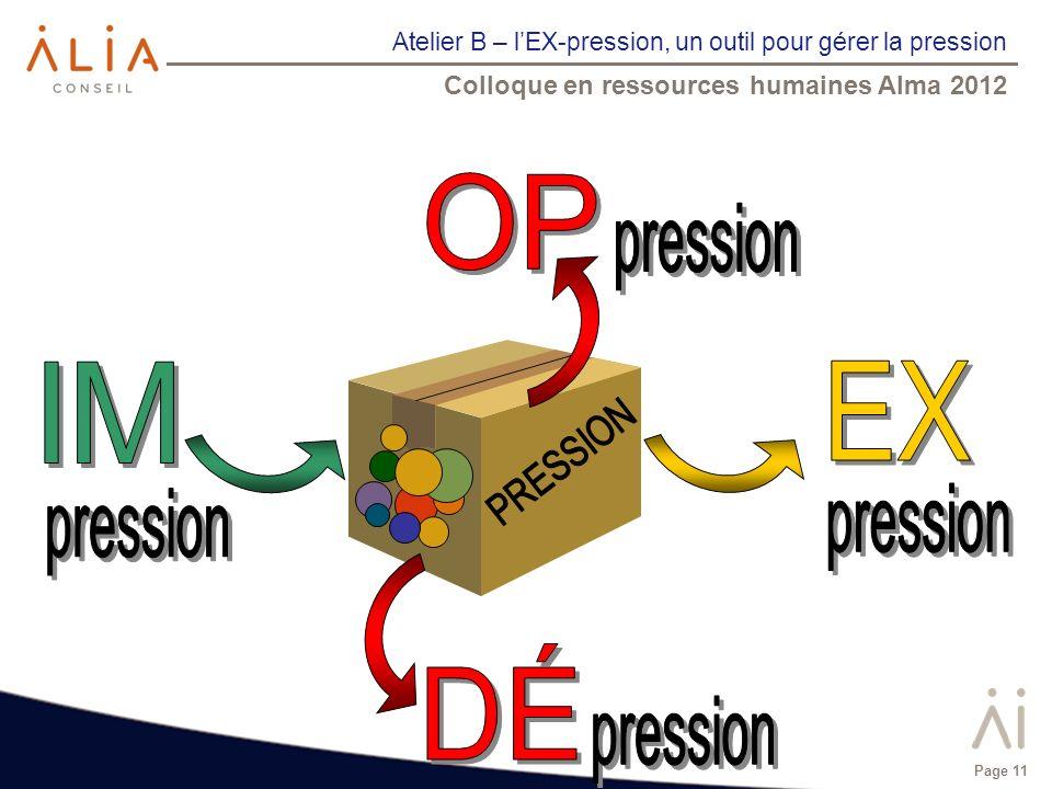 Atelier B – lEX-pression, un outil pour gérer la pression Colloque en ressources humaines Alma 2012 Page 11
