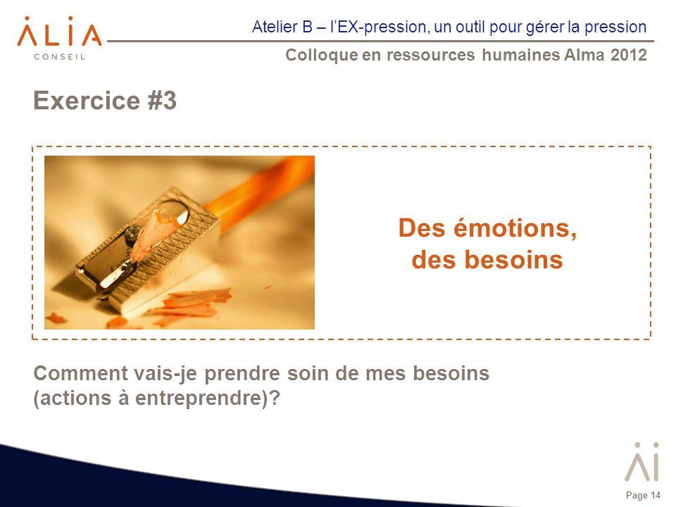Atelier B – lEX-pression, un outil pour gérer la pression Colloque en ressources humaines Alma 2012 Page 14 Exercice #3 Des émotions, des besoins Comm