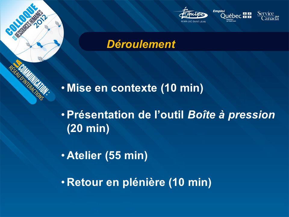 Déroulement Mise en contexte (10 min) Présentation de loutil Boîte à pression (20 min) Atelier (55 min) Retour en plénière (10 min)