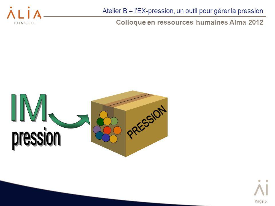 Atelier B – lEX-pression, un outil pour gérer la pression Colloque en ressources humaines Alma 2012 Page 6