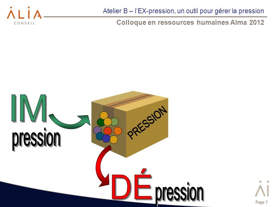 Atelier B – lEX-pression, un outil pour gérer la pression Colloque en ressources humaines Alma 2012 Page 7
