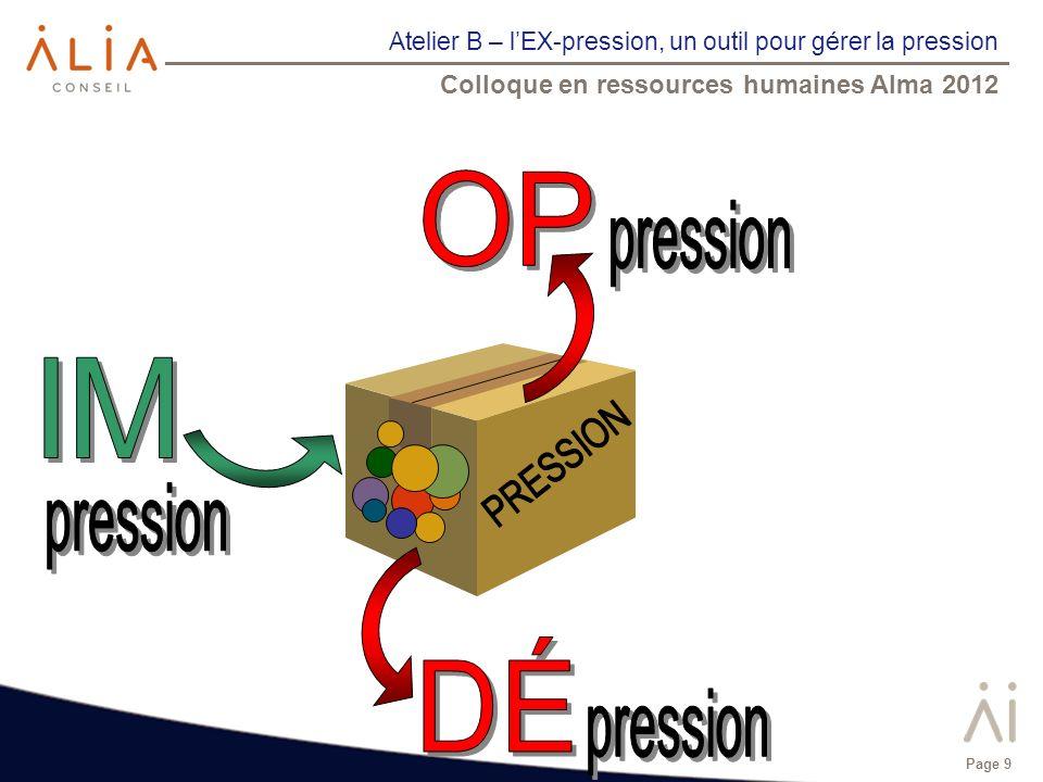 Atelier B – lEX-pression, un outil pour gérer la pression Colloque en ressources humaines Alma 2012 Page 9