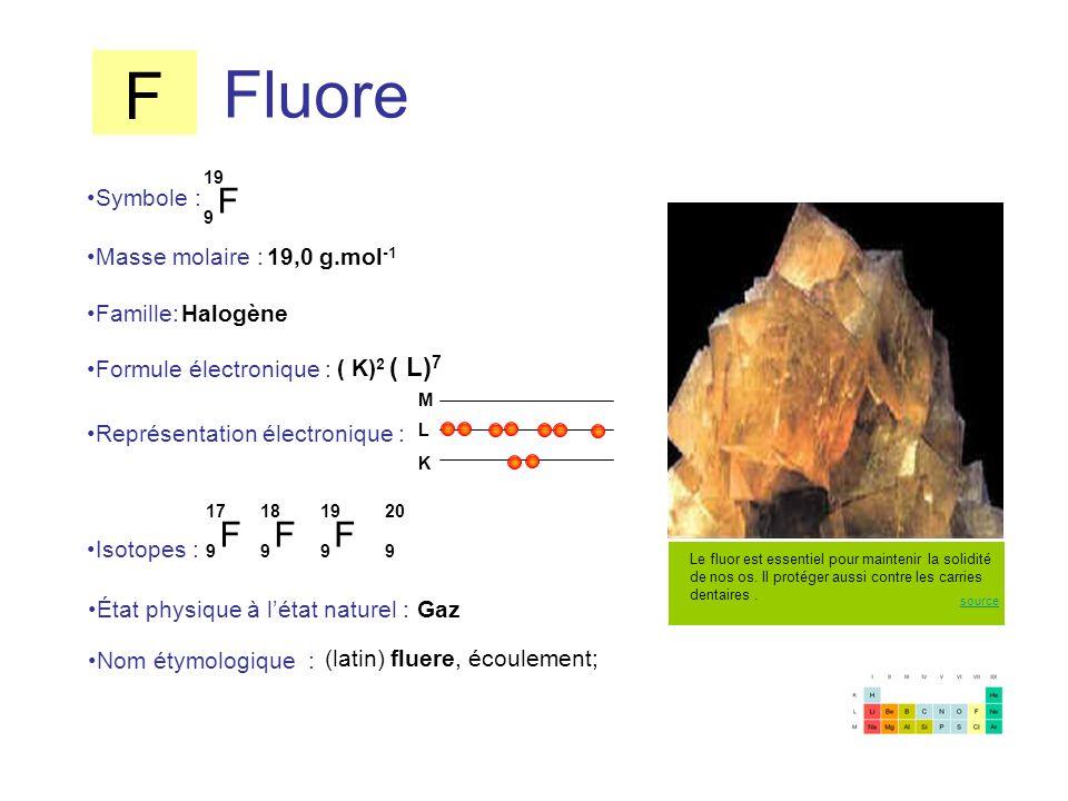 Fluore F 9 19 F 9 17 F 9 18 Symbole : Représentation électronique : Formule électronique : Masse molaire : Isotopes : État physique à létat naturel :