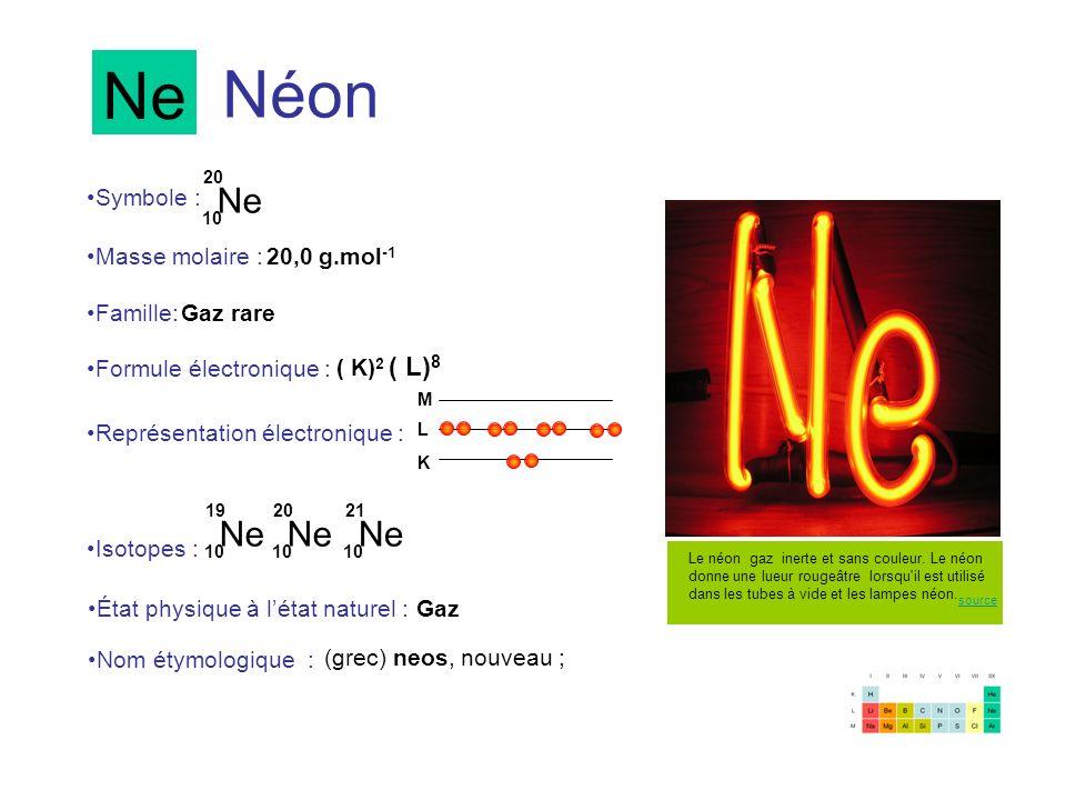 Néon Ne 10 20 Ne 10 19 Ne 10 20 Symbole : Représentation électronique : Formule électronique : Masse molaire : Isotopes : État physique à létat nature