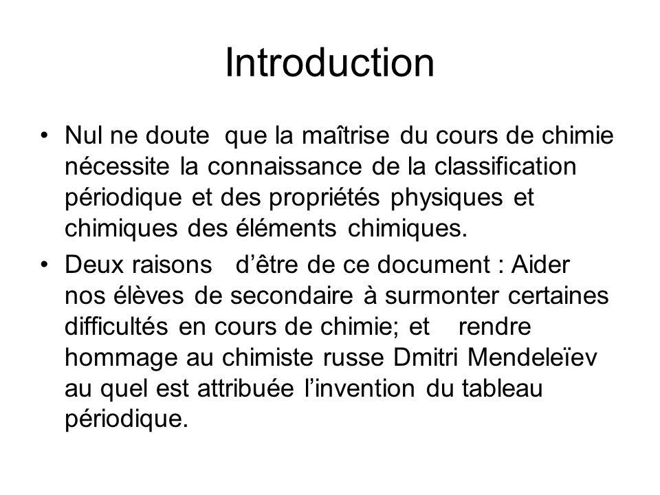 Introduction Nul ne doute que la maîtrise du cours de chimie nécessite la connaissance de la classification périodique et des propriétés physiques et