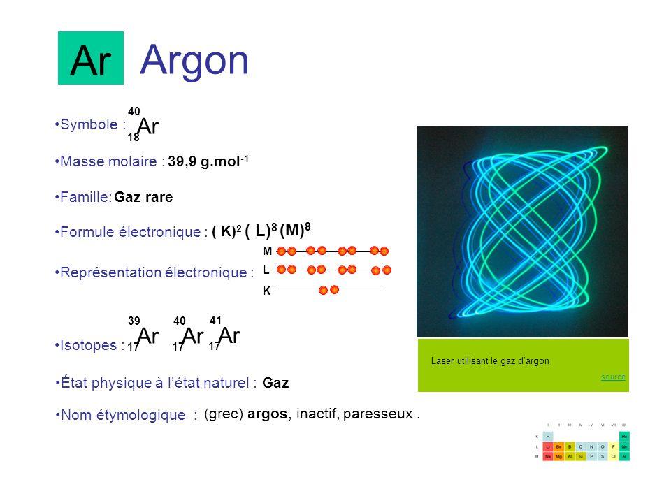 Argon Ar 18 40 Ar 17 39 Symbole : Représentation électronique : Formule électronique : Masse molaire : Isotopes : État physique à létat naturel : Nom