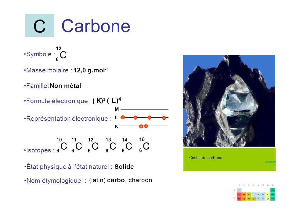 Carbone C 6 12 C 6 15 C 6 10 C 6 11 Symbole : Représentation électronique : Formule électronique : Masse molaire : Isotopes : État physique à létat na