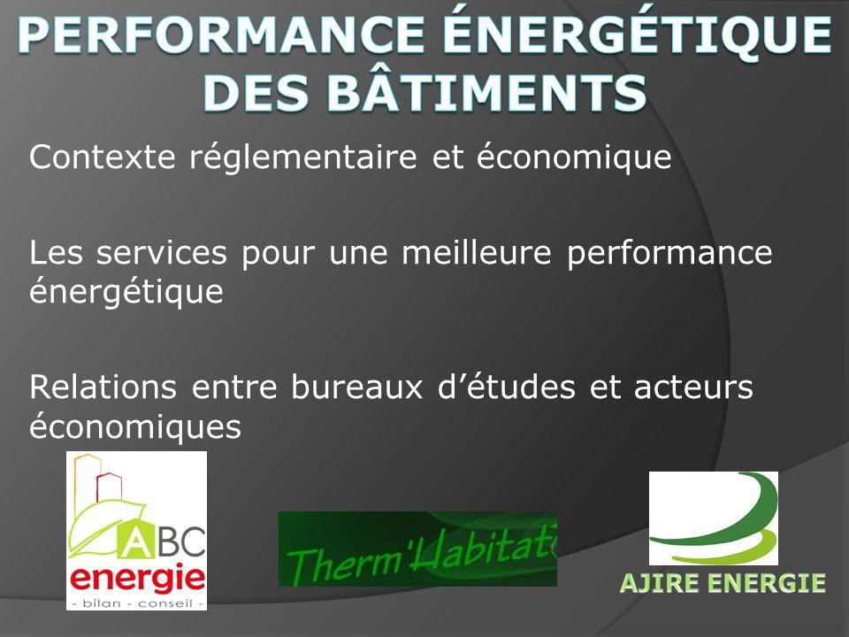 Contexte réglementaire et économique Les services pour une meilleure performance énergétique Relations entre bureaux détudes et acteurs économiques