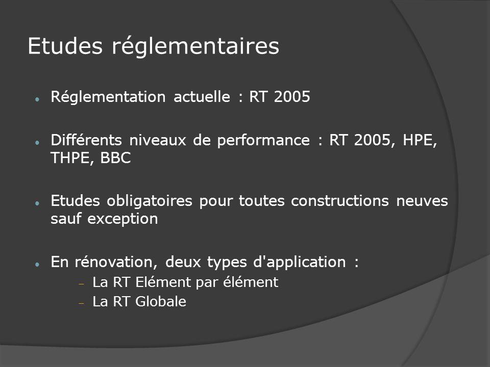 Etudes réglementaires Réglementation actuelle : RT 2005 Différents niveaux de performance : RT 2005, HPE, THPE, BBC Etudes obligatoires pour toutes constructions neuves sauf exception En rénovation, deux types d application : La RT Elément par élément La RT Globale