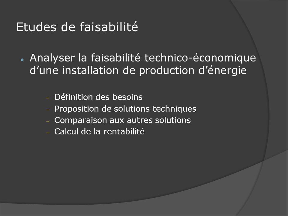 Etudes de faisabilité Analyser la faisabilité technico-économique dune installation de production dénergie Définition des besoins Proposition de solutions techniques Comparaison aux autres solutions Calcul de la rentabilité