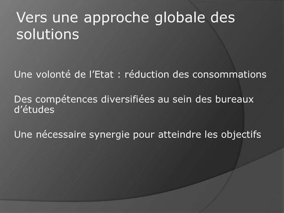 Une volonté de lEtat : réduction des consommations Des compétences diversifiées au sein des bureaux détudes Une nécessaire synergie pour atteindre les objectifs Vers une approche globale des solutions