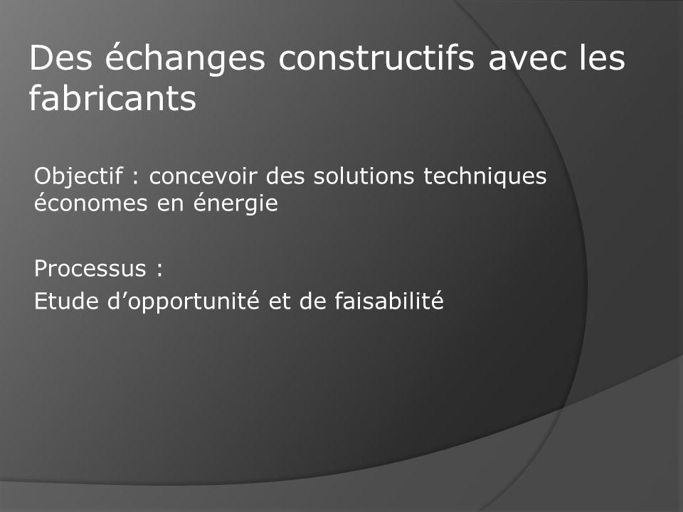 Objectif : concevoir des solutions techniques économes en énergie Processus : Etude dopportunité et de faisabilité Des échanges constructifs avec les fabricants