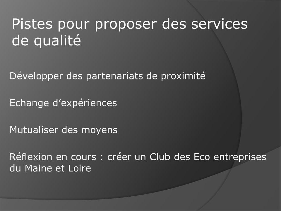 Développer des partenariats de proximité Echange dexpériences Mutualiser des moyens Réflexion en cours : créer un Club des Eco entreprises du Maine et Loire Pistes pour proposer des services de qualité
