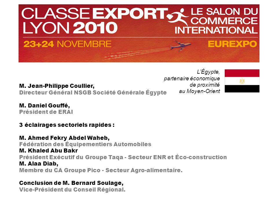 LÉgypte, partenaire économique de proximité au Moyen-Orient M. Jean-Philippe Coullier, Directeur Général NSGB Société Générale Égypte M. Daniel Gouffé