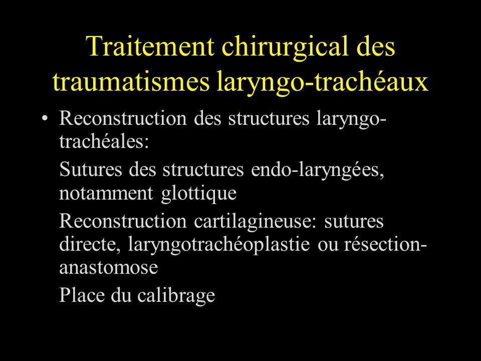 Traitement chirurgical des traumatismes laryngo-trachéaux Reconstruction des structures laryngo- trachéales: Sutures des structures endo-laryngées, no