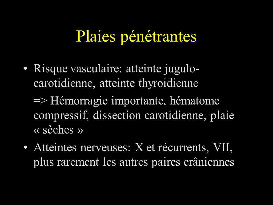 Conclusion Risque des plaies cervicales lié aux atteintes vasculaires et laryngo-trachéales Prise en charge chronologique adaptée à létat du patient Bilan adapté aux données de lexamen initial Cervicotomie exploratrice et reconstruction précoce