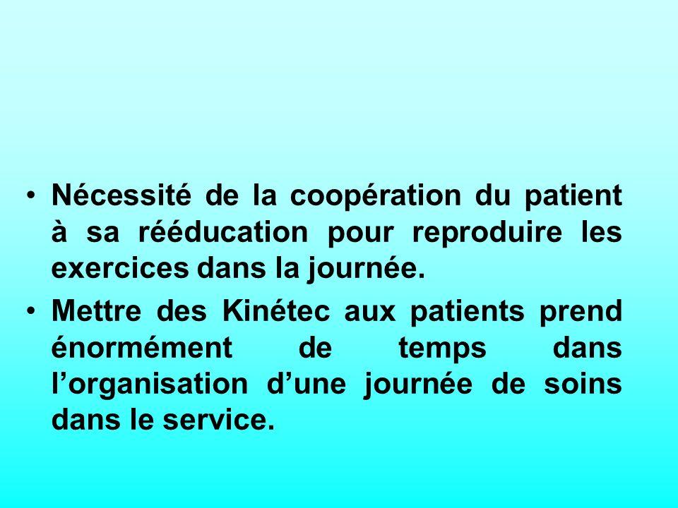 Nécessité de la coopération du patient à sa rééducation pour reproduire les exercices dans la journée.