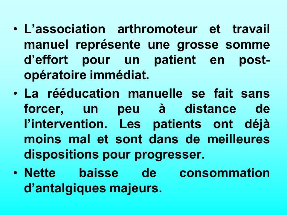 Lassociation arthromoteur et travail manuel représente une grosse somme deffort pour un patient en post- opératoire immédiat.