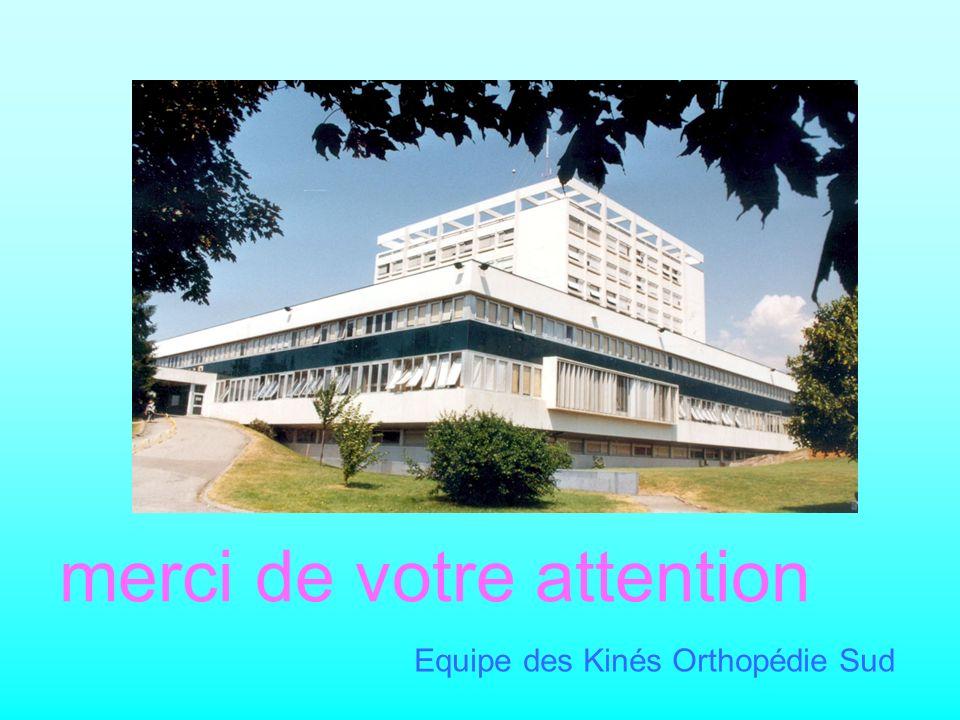 merci de votre attention Equipe des Kinés Orthopédie Sud