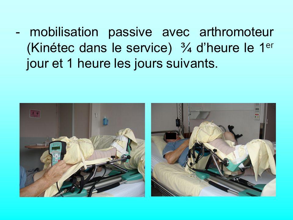 - mobilisation passive avec arthromoteur (Kinétec dans le service) ¾ dheure le 1 er jour et 1 heure les jours suivants.