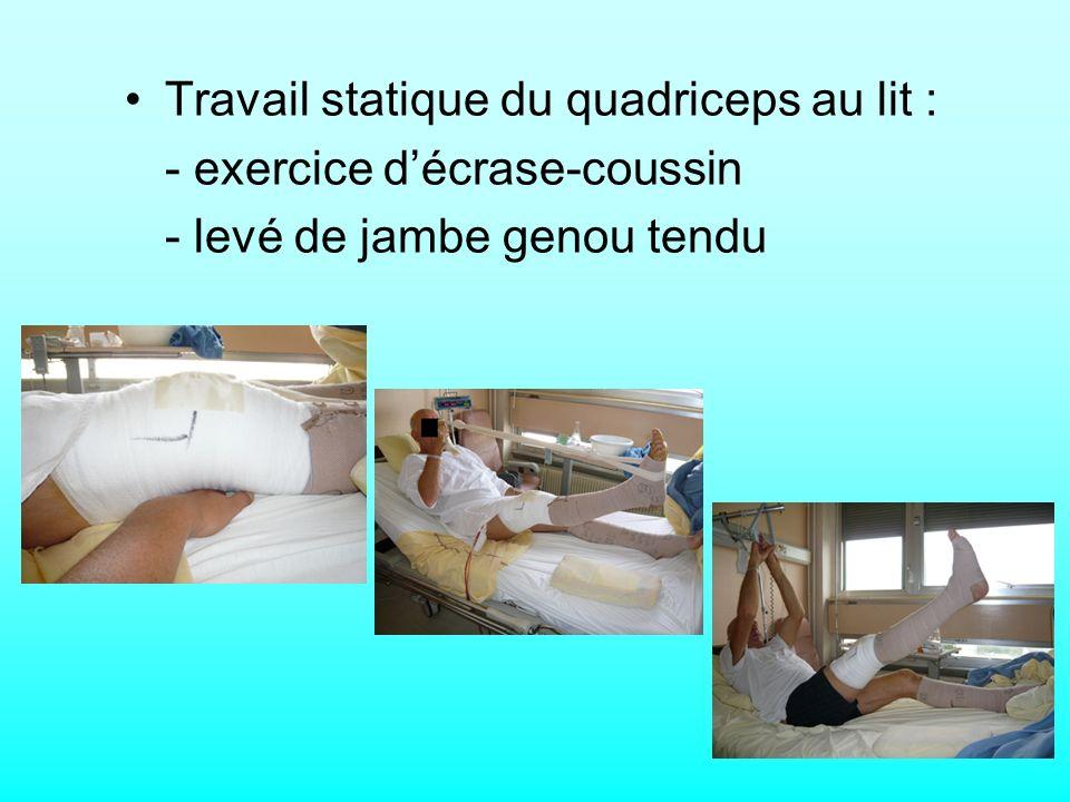 Travail statique du quadriceps au lit : - exercice décrase-coussin - levé de jambe genou tendu