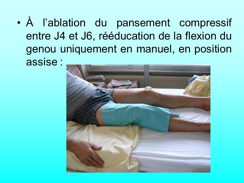À lablation du pansement compressif entre J4 et J6, rééducation de la flexion du genou uniquement en manuel, en position assise :