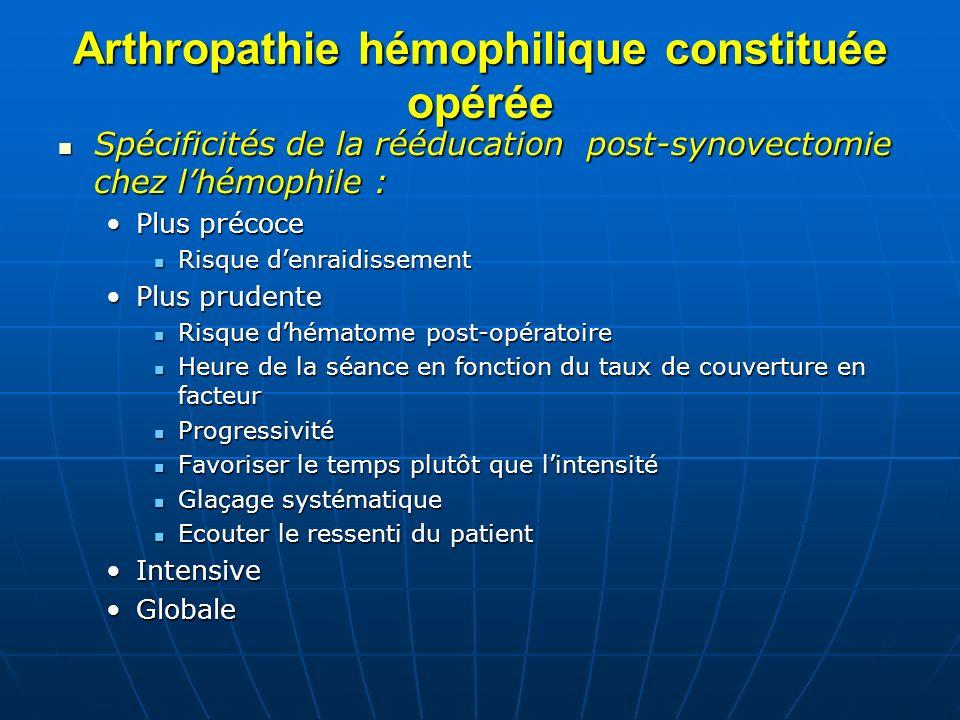 Arthropathie hémophilique constituée opérée Spécificités de la rééducation post-synovectomie chez lhémophile : Spécificités de la rééducation post-syn