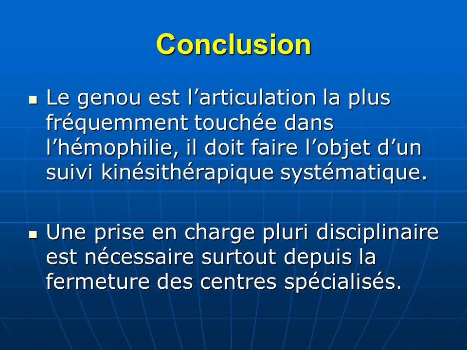 Conclusion Le genou est larticulation la plus fréquemment touchée dans lhémophilie, il doit faire lobjet dun suivi kinésithérapique systématique. Le g
