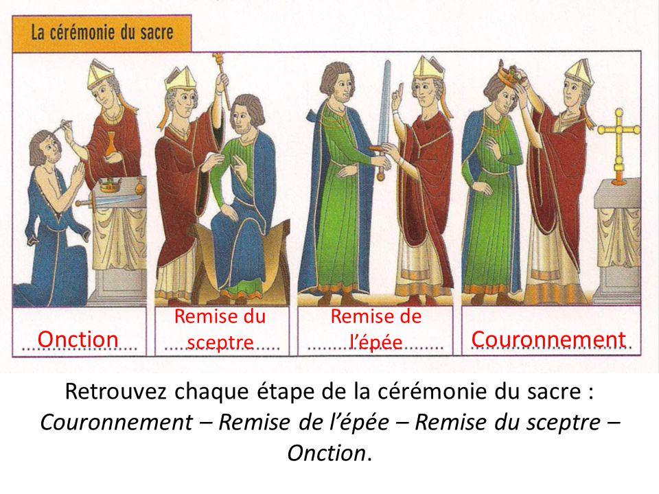 Retrouvez chaque étape de la cérémonie du sacre : Couronnement – Remise de lépée – Remise du sceptre – Onction. Onction Remise du sceptre Remise de lé