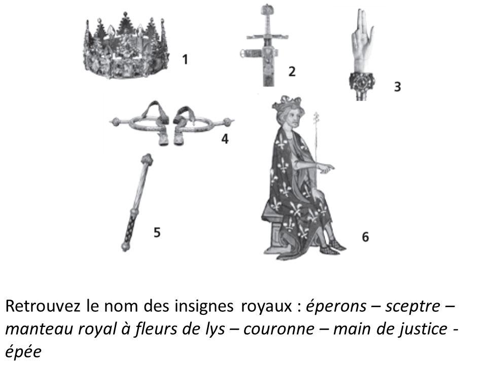 Retrouvez le nom des insignes royaux : éperons – sceptre – manteau royal à fleurs de lys – couronne – main de justice - épée
