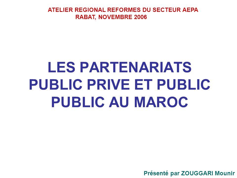 LES PARTENARIATS PUBLIC PRIVE ET PUBLIC PUBLIC AU MAROC Présenté par ZOUGGARI Mounir ATELIER REGIONAL REFORMES DU SECTEUR AEPA RABAT, NOVEMBRE 2006