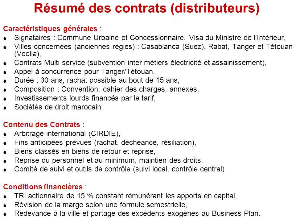 Résumé des contrats (distributeurs) Caractéristiques générales : Signataires : Commune Urbaine et Concessionnaire.