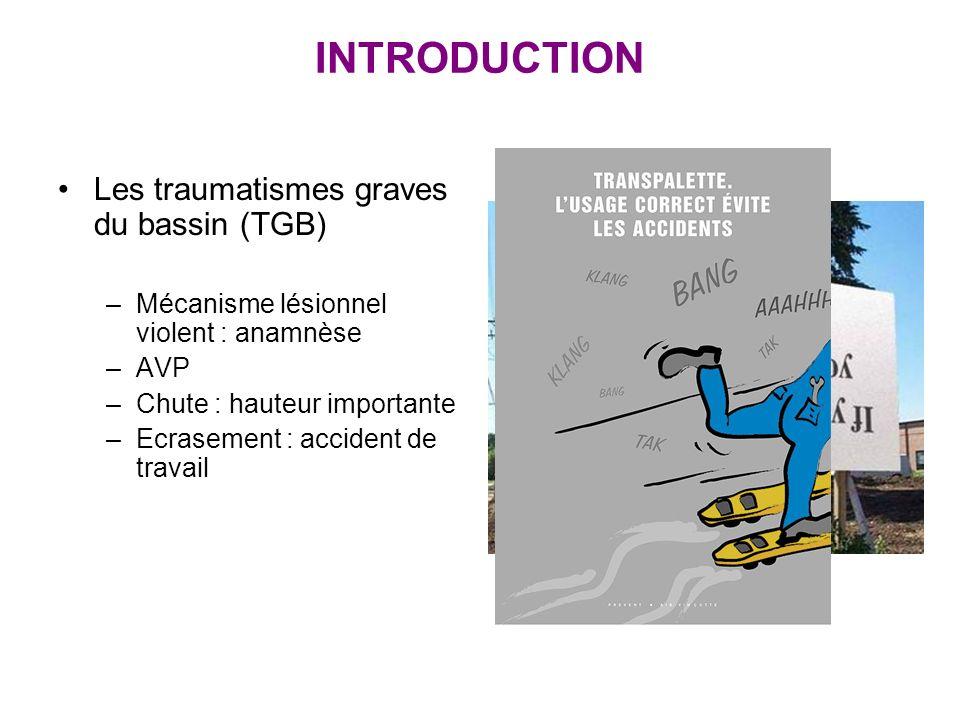 INTRODUCTION Les traumatismes graves du bassin (TGB) –Mécanisme lésionnel violent : anamnèse –AVP –Chute : hauteur importante –Ecrasement : accident d