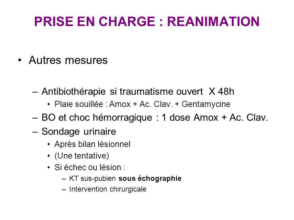 PRISE EN CHARGE : REANIMATION Autres mesures –Antibiothérapie si traumatisme ouvert X 48h Plaie souillée : Amox + Ac. Clav. + Gentamycine –BO et choc