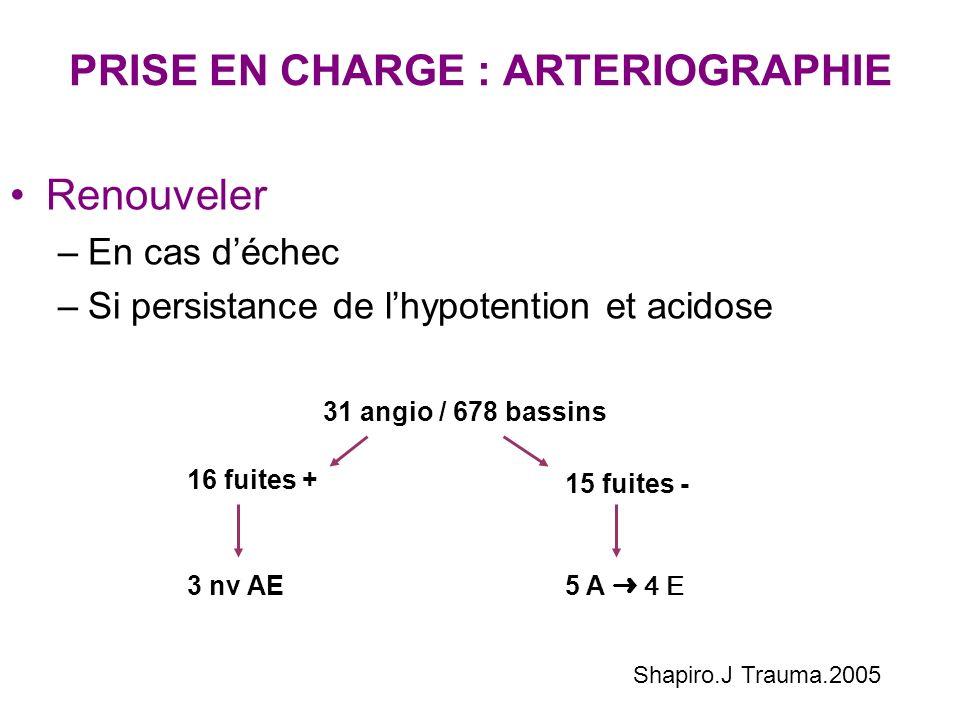 PRISE EN CHARGE : ARTERIOGRAPHIE Renouveler –En cas déchec –Si persistance de lhypotention et acidose Shapiro.J Trauma.2005 31 angio / 678 bassins 16