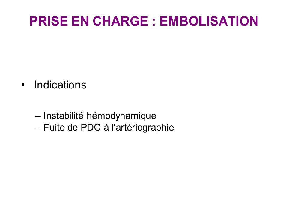 PRISE EN CHARGE : EMBOLISATION Indications – Instabilité hémodynamique – Fuite de PDC à lartériographie