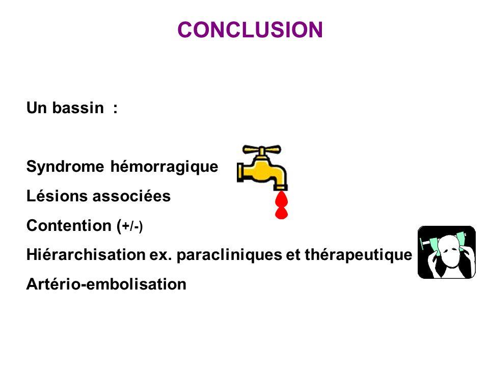 CONCLUSION Un bassin : Syndrome hémorragique Lésions associées Contention ( +/-) Hiérarchisation ex. paracliniques et thérapeutique Artério-embolisati