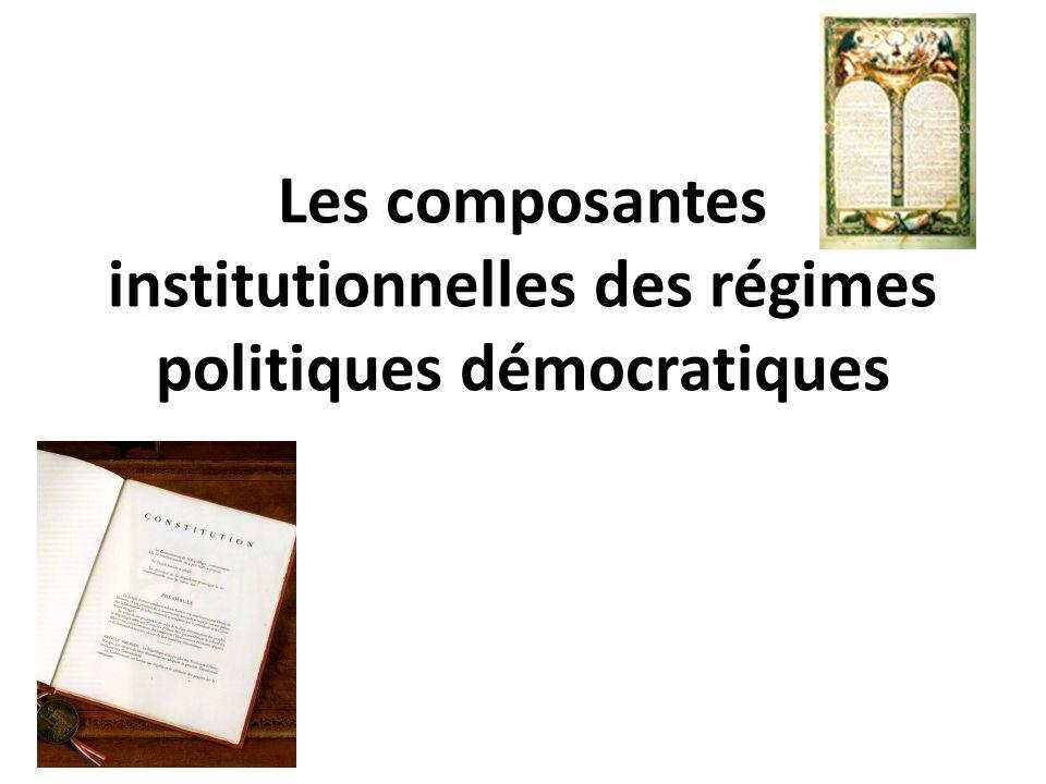 Les composantes institutionnelles des régimes politiques démocratiques